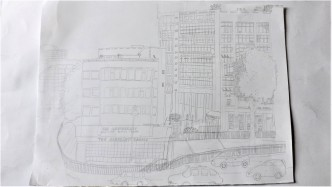 Drawing of Elephant and Castle Shopping Centre, pencil on paper, A3 1