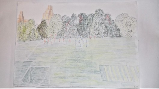 Drawing of Football in Regent's Park with London Zoo behind, coloured pencil on paper, A3 1