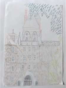 Drawing of Lincoln Inn Fields, coloured pencil on paper, A4 3