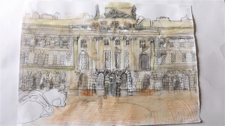 Drawing of Somerset House with Marc Quinn – Frozen Waves, Broken Sublimes sculpture, watercolour colour pencil and pen on paper, A3 2