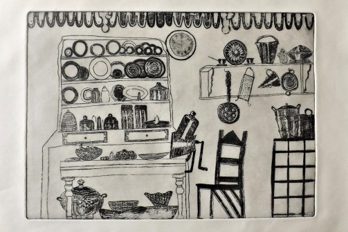 Etching of a Doll's House Kitchen in the V&A Museum of Childhood, A4 1