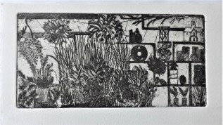 Etching of the Flower and Garden Stall when you first walk into Borough Market, 10 x 15cm 3