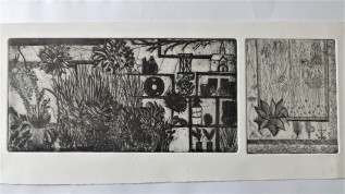 Etching of the Flower and Garden Stall when you first walk into Borough Market, 10 x 20cm 7