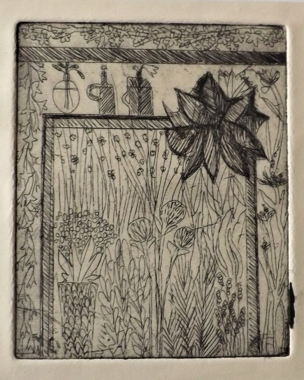 Etching of the Flower and Garden Stall when you first walk into Borough Market, 10 x 5cm 4