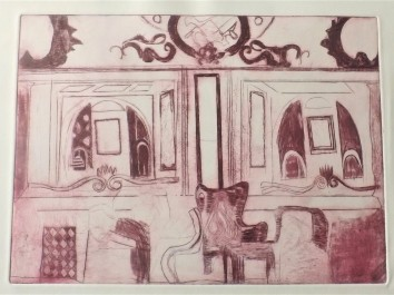 Etching of the inside of Wetherspoons by Liverpool Street Station, A4 7