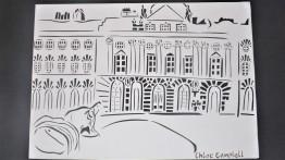 Papercut of Somerset House with Marc Quinn – Frozen Waves, Broken Sublimes sculpture, papercut, A3 1