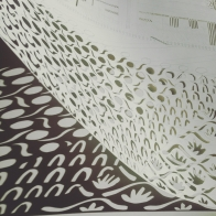 Work in progress: The View of the Thames from the North Side of Millenium Bridge, detail and shadow of paper cut, A1 x 2