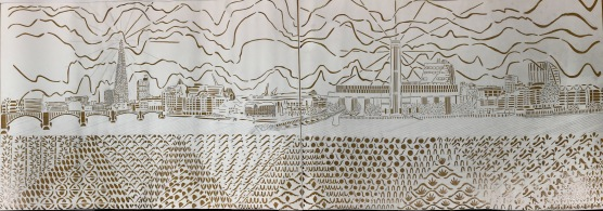 Work in progress: The View of the Thames from the North Side of Millenium Bridge, paper cut, A1 x 2