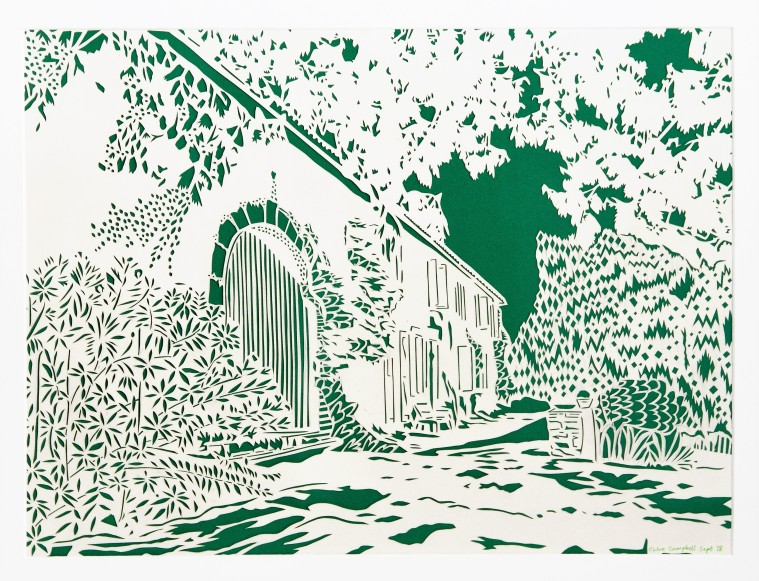 Chateau Charlot in Bordeaux, green and white papercut, A2