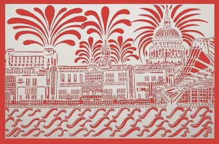 Red Vista, City of London, red and white card, A2