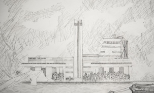 Tate Modern, pencil on paper, A1