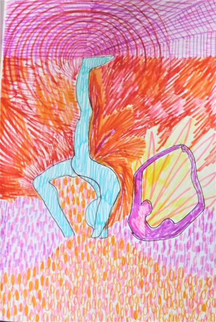 Sam's sculptures, coloured ink, A4