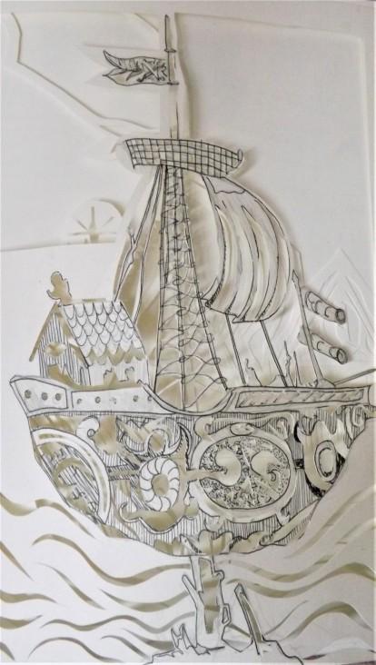 Boat, paper cut, A4