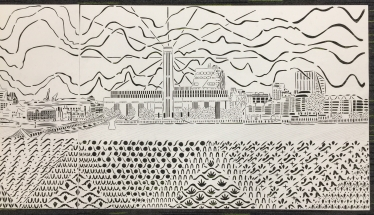 The View of the Thames from the North Side of Millenium Bridge, paper cut, A1 x 2