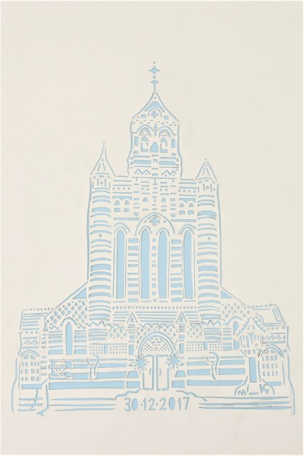 Holy Trinity Brompton Queensgate, paper cut, A4